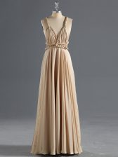 Fashion Champagne Evening Dress Prom and Party and Military Ball with Ruching Straps Sleeveless Criss Cross