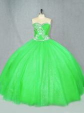 Ball Gowns Quinceanera Gowns Sweetheart Tulle Sleeveless Floor Length Lace Up