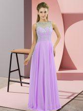 Lavender High-neck Neckline Beading Sleeveless Zipper