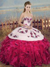 Deluxe Floor Length Fuchsia 15th Birthday Dress Sweetheart Sleeveless Lace Up