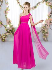 Sleeveless Chiffon Floor Length Lace Up Vestidos de Damas in Hot Pink with Beading and Hand Made Flower