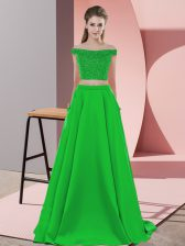 Romantic Two Pieces Sleeveless Green Homecoming Dress Sweep Train Backless