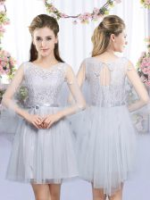 Sleeveless Tulle Mini Length Lace Up Vestidos de Damas in Grey with Lace and Belt
