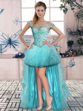 Aqua Blue Tulle Lace Up Off The Shoulder Sleeveless High Low Prom Dress Beading and Ruffles