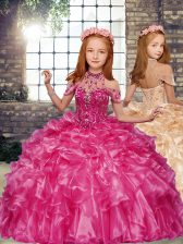 Excellent Floor Length Ball Gowns Sleeveless Hot Pink Little Girls Pageant Gowns Lace Up