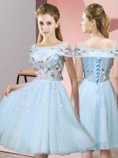 Custom Designed Light Blue Lace Up Damas Dress Appliques Short Sleeves Knee Length