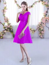 Fuchsia V-neck Neckline Lace Quinceanera Court of Honor Dress Cap Sleeves Lace Up