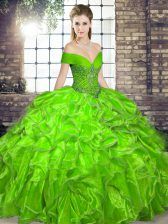 Artistic Off The Shoulder Sleeveless Lace Up Sweet 16 Dresses Organza