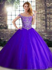 Gorgeous Purple Sleeveless Brush Train Beading Quinceanera Dress