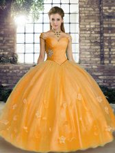 Ball Gowns Quinceanera Dress Orange Off The Shoulder Tulle Sleeveless Floor Length Lace Up