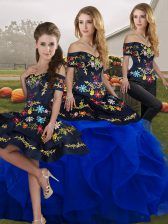 Royal Blue Sleeveless Embroidery and Ruffles Floor Length Ball Gown Prom Dress