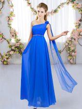 Vintage Floor Length Empire Sleeveless Royal Blue Dama Dress Lace Up