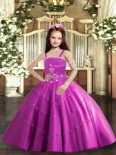 Ball Gowns Little Girl Pageant Dress Lilac Straps Taffeta and Tulle Sleeveless Floor Length Lace Up