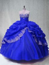 Floor Length Ball Gowns Sleeveless Royal Blue Quince Ball Gowns Lace Up