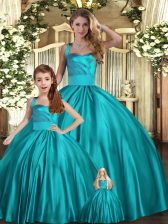 Admirable Teal Sleeveless Floor Length Ruching Lace Up Quinceanera Dresses