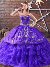 Deluxe Purple Sweetheart Lace Up Embroidery and Ruffled Layers 15 Quinceanera Dress Sleeveless