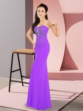 Flare Lavender Prom Evening Gown Prom and Party with Beading Sweetheart Sleeveless Zipper