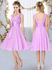 Knee Length Lace Up Vestidos de Damas Lilac for Wedding Party with Hand Made Flower
