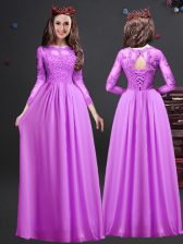 Graceful Chiffon Scoop Long Sleeves Lace Up Appliques Dama Dress in Lilac