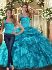 Fantastic Halter Top Sleeveless Lace Up Quinceanera Gown Teal Organza