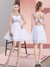 Fantastic Mini Length White Prom Dresses Chiffon Sleeveless Beading