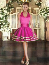 Halter Top Sleeveless Dress for Prom Mini Length Ruffled Layers Fuchsia Tulle