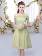 Nice Olive Green Empire Tulle Off The Shoulder Short Sleeves Belt Knee Length Lace Up Dama Dress for Quinceanera
