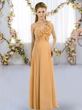 Orange Empire Chiffon One Shoulder Sleeveless Hand Made Flower Floor Length Lace Up Dama Dress