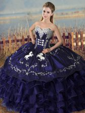 Flare Purple Sleeveless Organza Lace Up Quinceanera Gown for Sweet 16 and Quinceanera