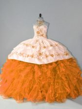 Excellent Floor Length Ball Gowns Sleeveless Orange Quinceanera Dresses Court Train Lace Up