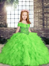 Fashionable Straps Neckline Beading and Ruffles Little Girls Pageant Dress Wholesale Sleeveless Lace Up
