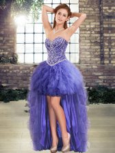 Comfortable Sleeveless Beading and Ruffles Lace Up Prom Gown