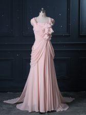 Great Pink Column/Sheath Ruching Dress for Prom Zipper Chiffon Sleeveless