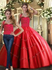 New Style Sleeveless Floor Length Appliques Lace Up 15 Quinceanera Dress with Red