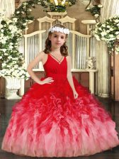Fantastic Red and Multi-color Girls Pageant Dresses Party and Wedding Party with Ruffles V-neck Sleeveless Zipper