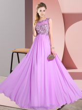 Sleeveless Backless Floor Length Beading and Appliques Quinceanera Court of Honor Dress