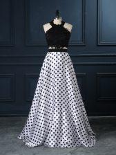 Scoop Sleeveless Zipper Prom Dresses White And Black Printed