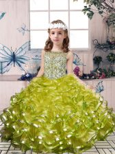 Olive Green Scoop Neckline Beading and Ruffles Kids Formal Wear Sleeveless Lace Up