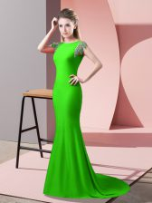 Prom Dress High-neck Short Sleeves Brush Train Backless