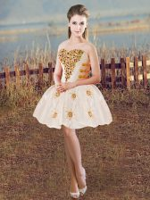 Champagne Ball Gowns Beading Prom Evening Gown Lace Up Satin Sleeveless Mini Length