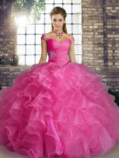 Rose Pink Ball Gowns Beading and Ruffles Sweet 16 Quinceanera Dress Lace Up Organza Sleeveless Floor Length