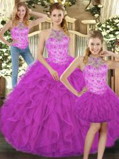 Exquisite Floor Length Lace Up Vestidos de Quinceanera Fuchsia for Military Ball and Sweet 16 and Quinceanera with Beading and Ruffles