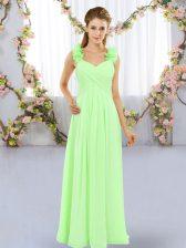 Edgy Chiffon Sleeveless Floor Length Vestidos de Damas and Hand Made Flower