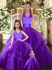 Dynamic Halter Top Sleeveless Tulle Quince Ball Gowns Ruching Lace Up