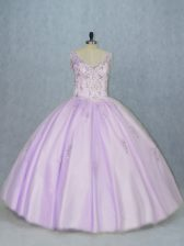 Lavender Sweet 16 Dresses Sweet 16 and Quinceanera with Beading V-neck Sleeveless Lace Up