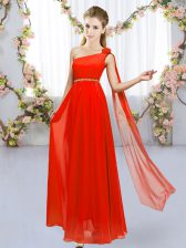 Eye-catching One Shoulder Sleeveless Lace Up Dama Dress for Quinceanera Red Chiffon