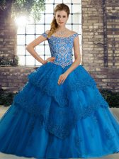 Lace Up Ball Gown Prom Dress Blue for Military Ball and Sweet 16 and Quinceanera with Beading and Lace Brush Train