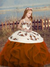 Rust Red Lace Up Straps Sleeveless Floor Length Little Girls Pageant Gowns Embroidery and Ruffles