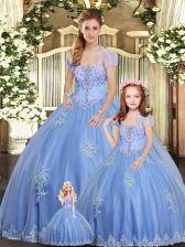 Popular Ball Gowns 15 Quinceanera Dress Light Blue Strapless Tulle Sleeveless Floor Length Lace Up