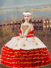 Customized Red Ball Gowns Straps Sleeveless Organza Floor Length Lace Up Beading and Embroidery and Ruffled Layers Child Pageant Dress